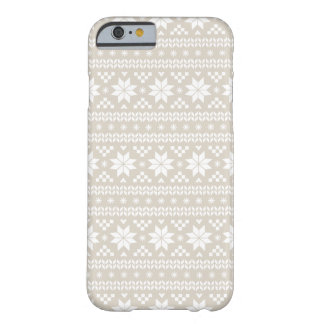 Linen Beige Fair Isle Christmas Sweater Pattern Barely There iPhone 6 Case