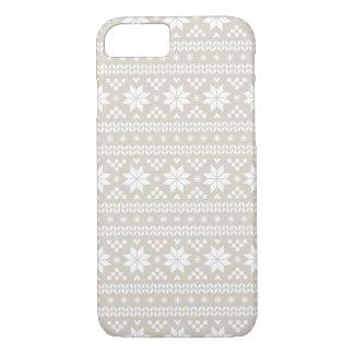 Linen Beige Fair Isle Christmas Sweater Pattern iPhone 7 Case