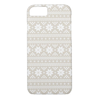 Linen Beige Fair Isle Christmas Sweater Pattern iPhone 8/7 Case