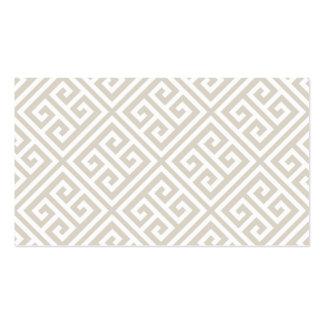 Linen Beige Greek Key Blank Business Card Template