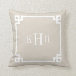 Linen Beige Greek Key Border Custom Monogram Pillow