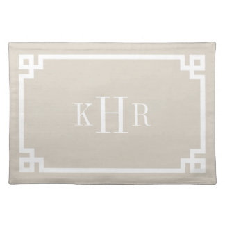 Linen Beige Greek Key Border Custom Monogram Placemat