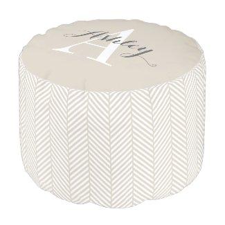 Linen Beige Herringbone Custom Monogram Round Pouf