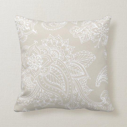 Linen Monogram Throw Pillow: Gray White Linen Monogram Wedding Keepsake Throw Pillow