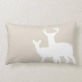 Linen Beige Male Female Deer Throw Pillow