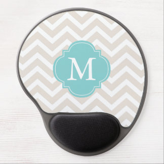 Linen Beige & Mint Zigzags Pattern Monogram Gel Mouse Pad