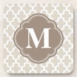 Linen Beige & Mocha Brown Modern Moroccan Monogram Beverage Coasters