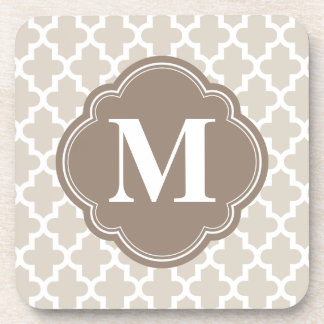 Linen Beige & Mocha Brown Modern Moroccan Monogram Coaster