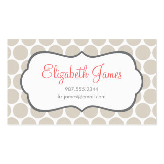 Linen Beige Mod Big Dots Double-Sided Standard Business Cards (Pack Of 100)