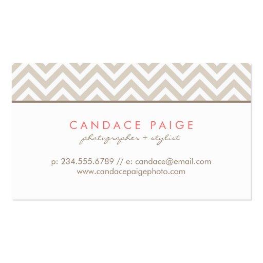 Linen Beige Modern Chevron Stripes Business Card Templates (back side)