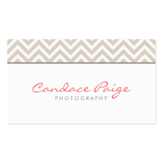 Linen Beige Modern Chevron Stripes Double-Sided Standard Business Cards (Pack Of 100)