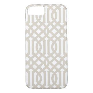 Linen Beige Modern Trellis iPhone 7 Case