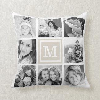 Linen Beige Monogram Instagram Photo Collage Throw Pillow