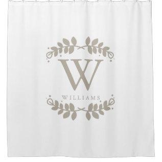 Linen Beige Monogram Shower Curtain at Zazzle