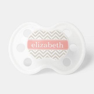 Linen Beige & Pink Chevron & Monogram Baby Pacifiers