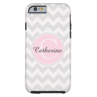Linen Beige Pink Chevron Zigzag Pattern Monogram Tough iPhone 6 Case