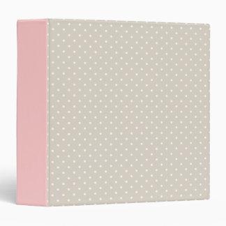 Linen Beige & Pink Cute Tiny Polka Dots Binder