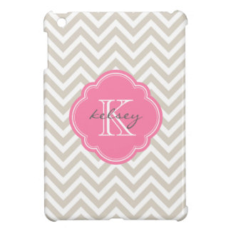 Linen Beige & Pink Modern Chevron Custom Monogram iPad Mini Cases