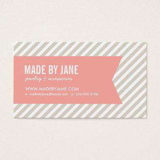 Linen Beige & Pink Modern Stripes & Ribbon Business Card