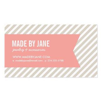 Linen Beige & Pink Modern Stripes & Ribbon Double-Sided Standard Business Cards (Pack Of 100)