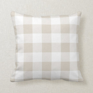 Linen Beige Preppy Buffalo Check Plaid Throw Pillow