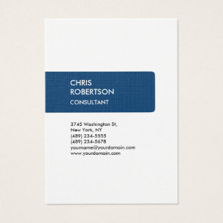 Linen Blue Attractive Chubby Business Card