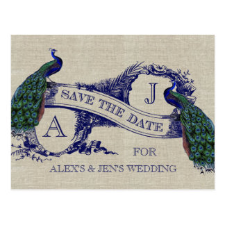 Linen Blue Peacock Save the Date Postcard