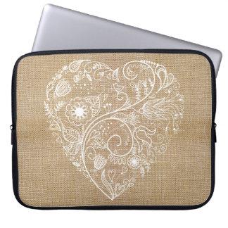 Linen burlap flower heart computer sleeve