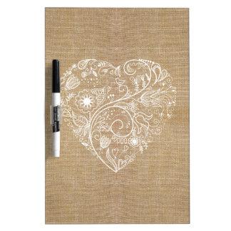 Linen burlap flower heart dry erase whiteboards