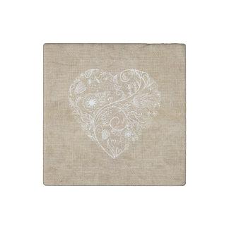 Linen burlap flower heart stone magnet
