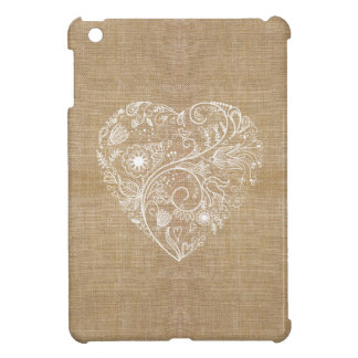 Linen burlap flower heart iPad mini cases