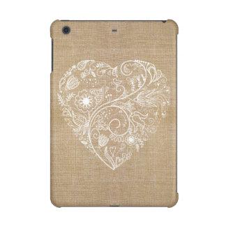 Linen burlap flower heart iPad mini retina case