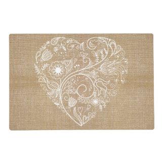 Linen burlap flower heart laminated place mat
