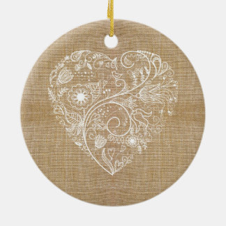 Linen burlap flower heart Double-Sided ceramic round christmas ornament