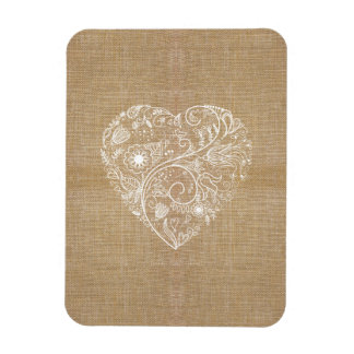 Linen burlap flower heart rectangular magnets