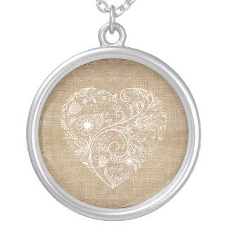 Linen burlap flower heart silver plated necklace