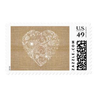 Linen burlap flower heart stamp