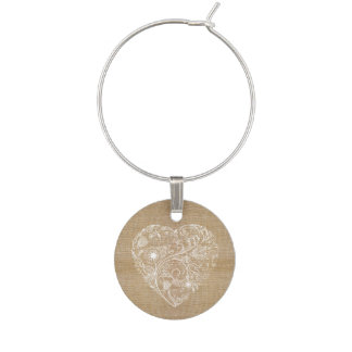 Linen burlap flower heart wine glass charm