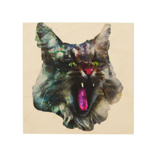 LINEN CLOTH PICTURE CAT MAINE COON WOOD WALL ART