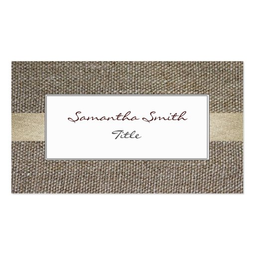 Linen fabric ecological elegant Business card