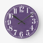 Linen Fabric Texture Background // Purple Grape Round Clock
