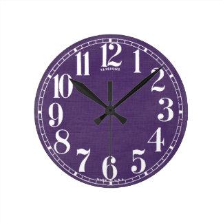 Linen Fabric Texture Background // Purple Grape Round Clock