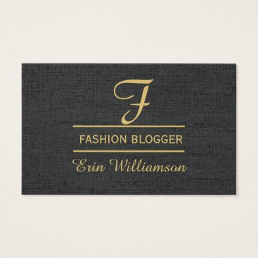 Professional Business Linen Fashion Blogger Black Golden Minimal Business Card