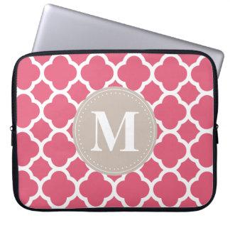 Linen Grey Monogram Pink Quatrefoil Pattern Laptop Sleeve