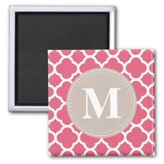 Linen Grey Monogram Pink Quatrefoil Pattern Magnet