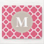 Linen Grey Monogram Pink Quatrefoil Pattern Mouse Pad