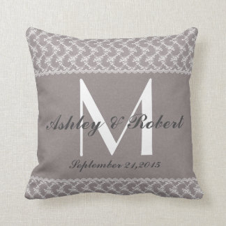 Linen Lace Gray White Monogram Wedding Keepsake Throw Pillow