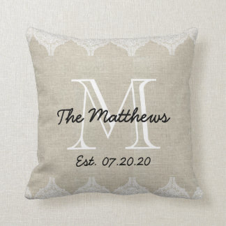 Linen Lace Look Custom Monogram Throw Pillow
