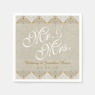 Linen Lace Mr. Mrs. Rustic Wedding Paper Napkins