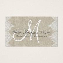 Linen Lace Simple Plain Monogram Business Card